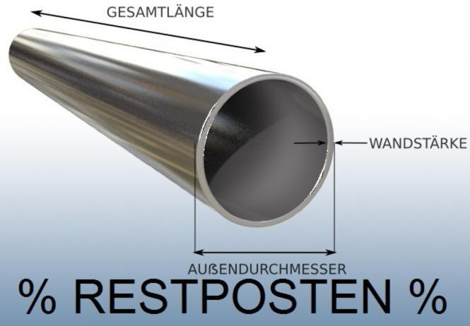 RESTPOSTEN 5 Stück Rundrohr 70 x 2 mm Edelstahl 150 cm Länge