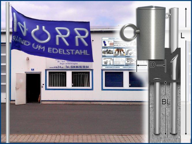 Fahnenmast EDELSTAHL 6 meter Ø 60 x 3 mm mit Bodenhülse für Fußball Fahne etc