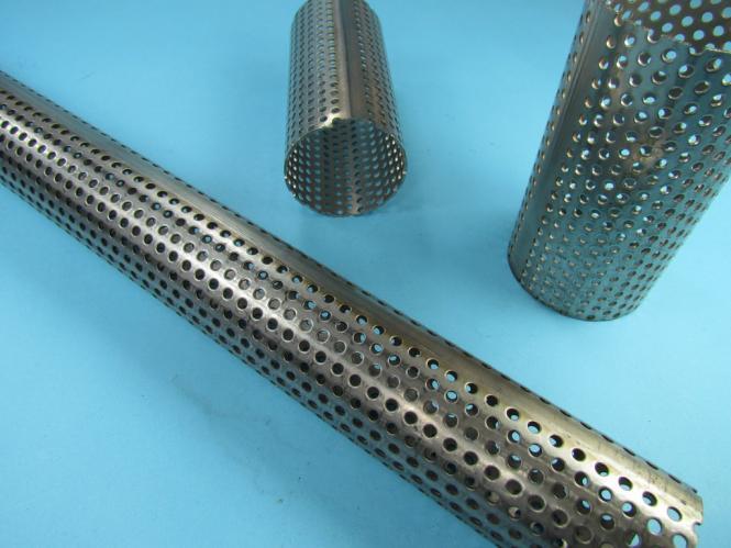 Edelstahl Auspuff Rohr Aussen Durchmesser  Ø 45 mm Länge 1000 mit 3-4 mm Löchern