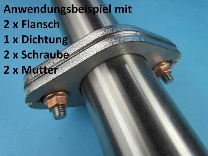 Auspuff Flansch Flanschplatte Edelstahl Nr.15-2 Loch 13x19 mm  Rohr 54