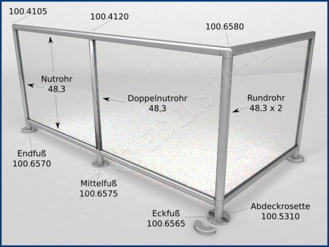 GLASLEISTENROHR GLAS EINFAß PROFIL Länge wählbar bis 600 cm