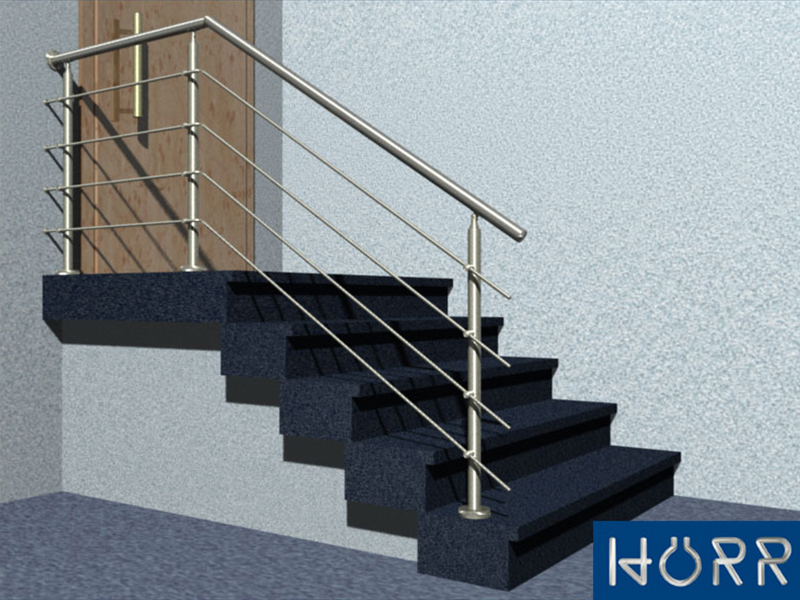 gel nder treppe mit podest mit edelstahl handlauf f llung 4 streben befestigung. Black Bedroom Furniture Sets. Home Design Ideas
