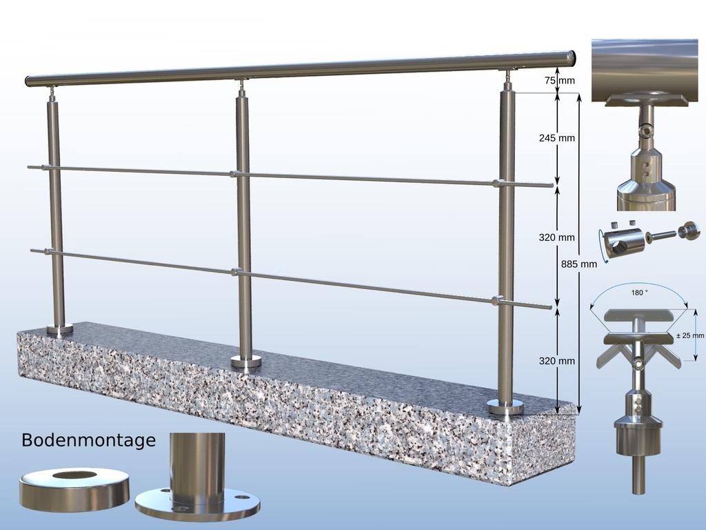 gel nder boden 2 x rundstahl bis 2 meter 3 pfosten f r treppe balkon 2 x rundstab bis 2. Black Bedroom Furniture Sets. Home Design Ideas