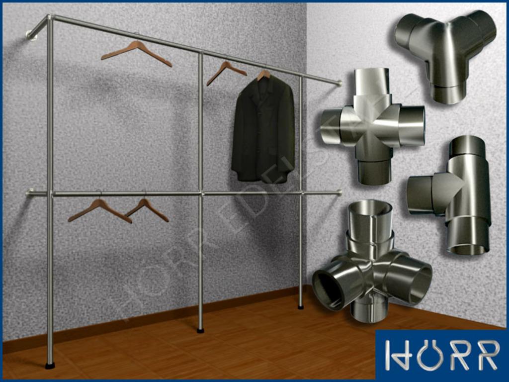 garderobenstange system f kleiderschrank begehbar 3 5 lfm. Black Bedroom Furniture Sets. Home Design Ideas