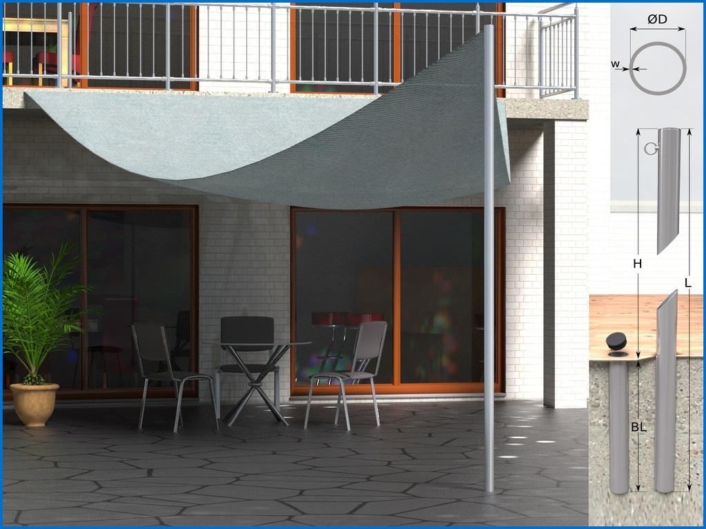 h rr edelstahl edelstahl sonnensegel stange mast. Black Bedroom Furniture Sets. Home Design Ideas